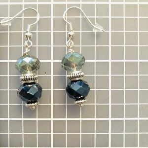 Frontrow.style Jewelry - Sterling Silver Earrings Grey & Blue/ Black Cryst.